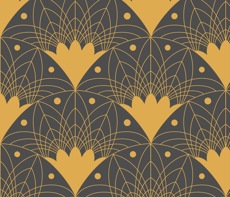 Large Scale Art Deco Fans and Dots fabric by carabaradesigns on Spoonflower - custom fabric