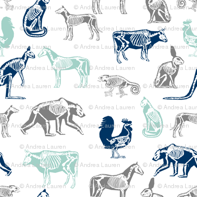 xray // animal skeletons cute nature themed fabric gender neutral animals white blue