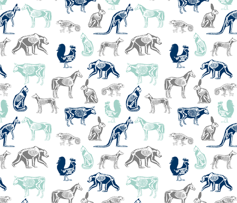 xray // animal skeletons cute nature themed fabric gender neutral animals white blue fabric by andrea_lauren on Spoonflower - custom fabric