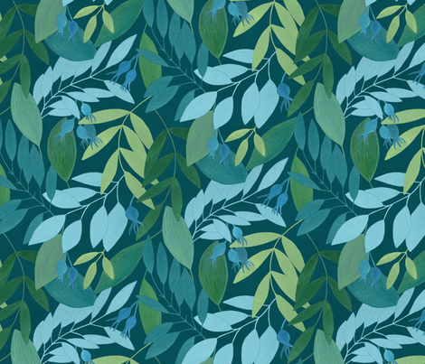 To the forest /blue/ fabric by lavish_season on Spoonflower - custom fabric