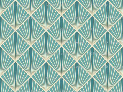Art Deco Fans - Turquoise