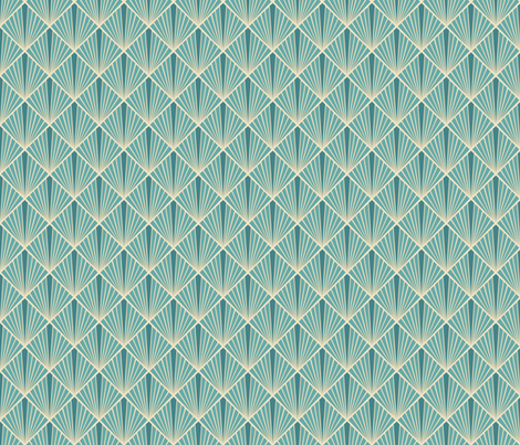 Art Deco Fans - Turquoise fabric by fernlesliestudio on Spoonflower - custom fabric