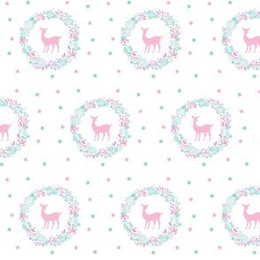 Mint pink  polka dots Deer shabby chic rose wreath