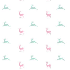 Deer 7 - pink seafoam mist