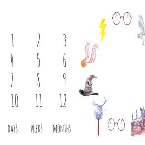 "42"" Wizard Symbols Baby Milestone Blanket"