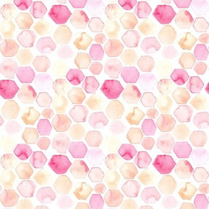 Watercolor Abstract Hexagon Hexie || Pastel Yellow Blush Pink Peach Coral White Orange Yellow Geometric Dots Spots  Baby Girl by Miss Chiff Designs