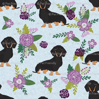dachshund pet quilt c black and tan coat doxie dog breed coordinate floral
