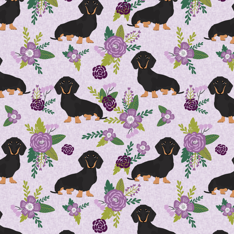 dachshund pet quilt c black and tan coat doxie dog breed coordinate floral fabric by petfriendly on Spoonflower - custom fabric