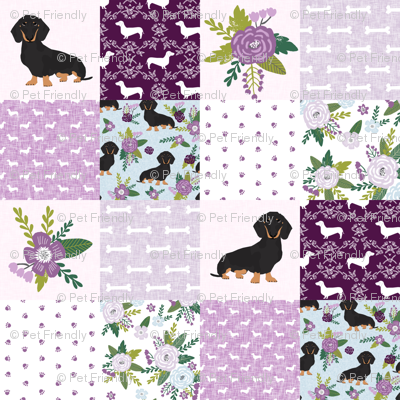 dachshund pet quilt c black and tan coat doxie dog breed cheater quilt