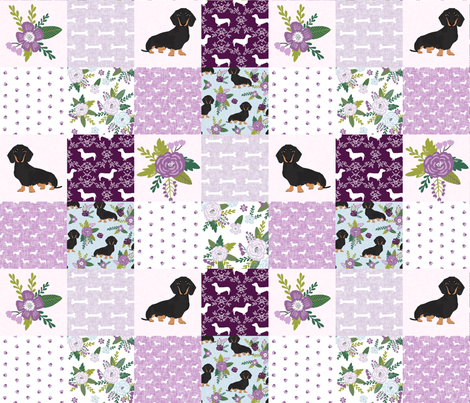 dachshund pet quilt c black and tan coat doxie dog breed cheater quilt fabric by petfriendly on Spoonflower - custom fabric