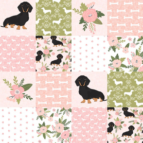 dachshund pet quilt d black and tan coat doxie dog breed cheater quilt