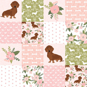 dachshund pet quilt d red coat doxie dog breed cheater quilt