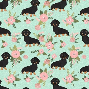 dachshund pet quilt d black and tan coat doxie dog breed floral