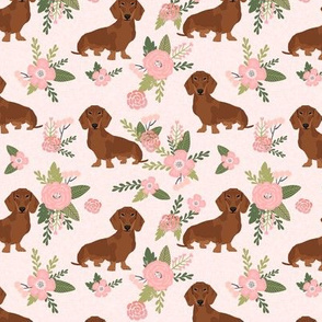 dachshund pet quilt d red coat doxie dog breed floral