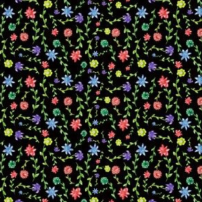 Dutch Floral, Watercolor Flowers on Black Background, Dainty Quilting Floral
