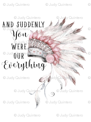 """27""""x36"""" Suddenly You Were Our Everything / Pink & Grey"""