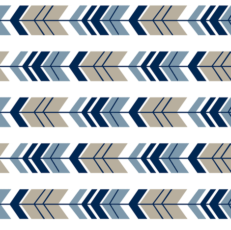 Rotated TAUPE NAVY ARROW fabric by sewluvin on Spoonflower - custom fabric
