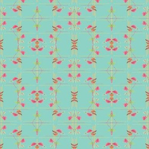 Deco Floral on Blue Mirrored - Small