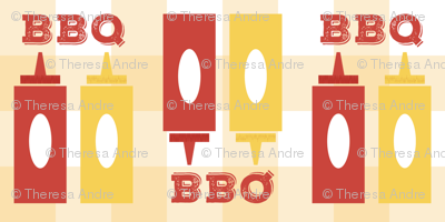 Picnic BBQ Gingham Summer Cookout Barbecue with  Ketchup and Mustard