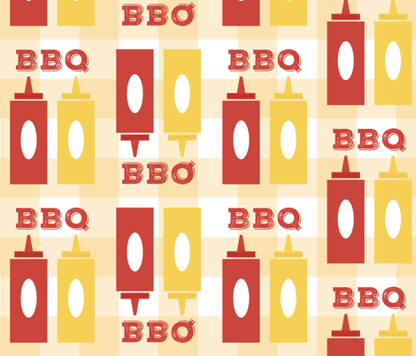 Picnic BBQ Gingham Summer Cookout Barbecue with  Ketchup and Mustard fabric by twix on Spoonflower - custom fabric