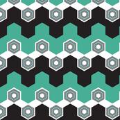 Art Deco Hexagons (Aqua)