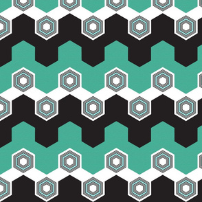 Art Deco Hexagons (Aqua)