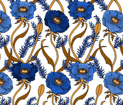 Blue Poppies fabric by pond_ripple on Spoonflower - custom fabric