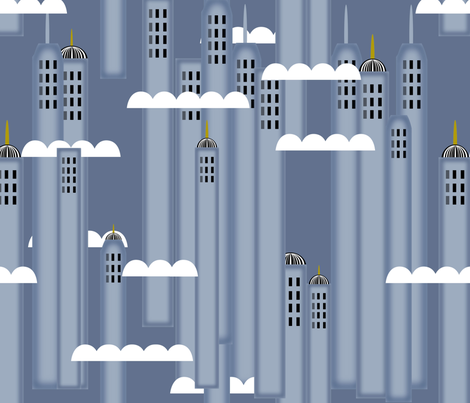 Art Deco Skyscrapers Buildings fabric by rhyannon on Spoonflower - custom fabric
