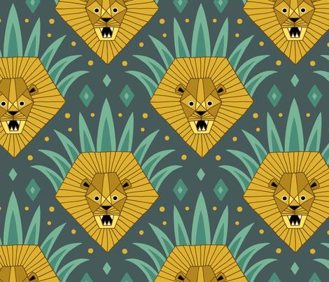 Art Deco Lion Roar (large) fabric by heleen_vd_thillart on Spoonflower - custom fabric