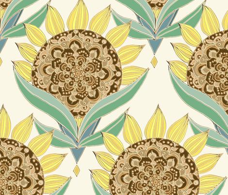Art Deco Sunflowers fabric by tangerine-tane on Spoonflower - custom fabric