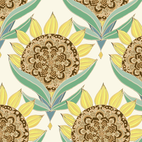 Art Deco Sunflowers fabric by tangerine-tane on Spoonflower - custom fabric