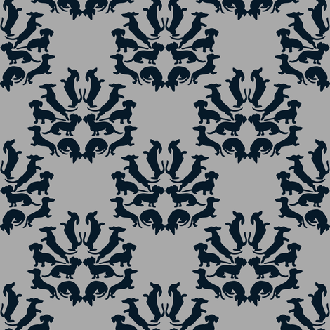 Custom Doxie Damask Midnight Blue on Gray fabric by eclectic_house on Spoonflower - custom fabric
