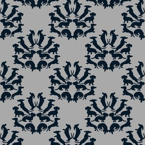 Custom Doxie Damask Midnight Blue on Gray