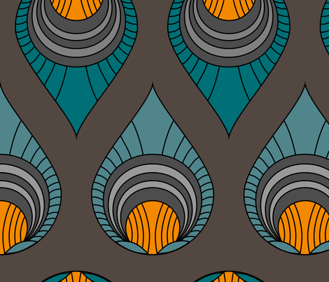 Art Deco Turquoise & Blue on Brown fabric by goatfeatherfarm on Spoonflower - custom fabric