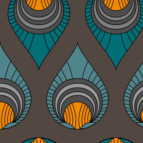 Art Deco Turquoise & Blue on Brown