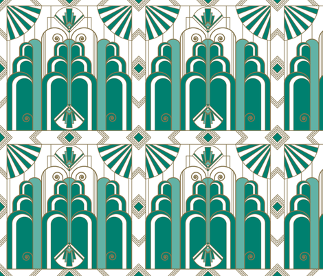 Art Deco green & gold fabric by lucyconway on Spoonflower - custom fabric