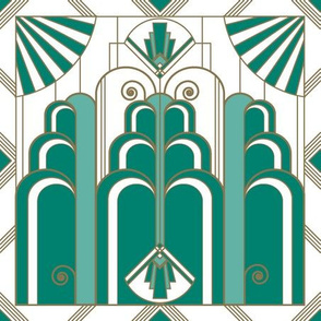 Art Deco green & gold