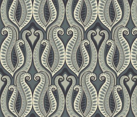 Deco Fern Blue Gray fabric by lily_studio on Spoonflower - custom fabric