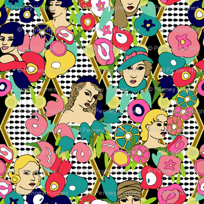 Art Deco Ladies Moderne With Flowers Extra Large