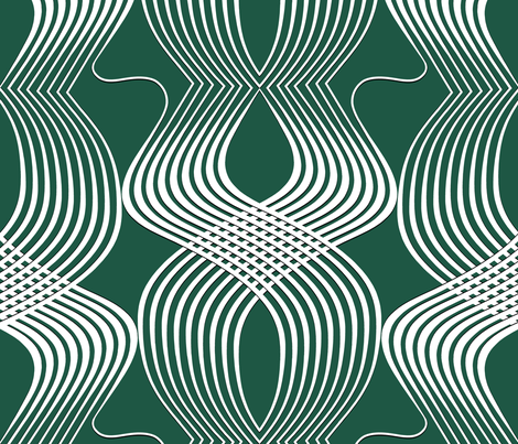 Art Deco Swirl White on Teal fabric by house_of_heasman on Spoonflower - custom fabric