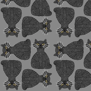 Knotty Cat - black on grey, small