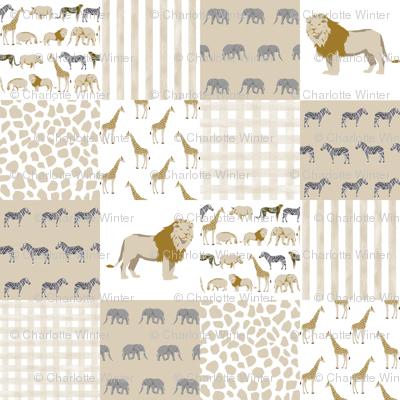 Safari quilt animals coordinate cute nursery fabric fabric for Safari fabric for nursery