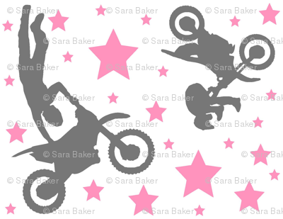 Dirt Bike Tricks Pink and Grey