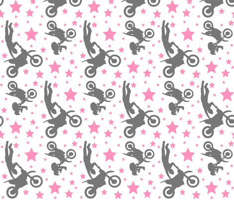 Dirt Bike Tricks Pink and Grey fabric by thepinkpinecone on Spoonflower - custom fabric