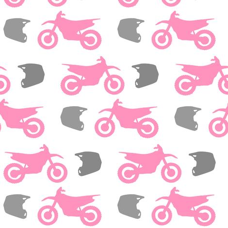 Pink Dirt Bike Grey Helmet fabric by thepinkpinecone on Spoonflower - custom fabric