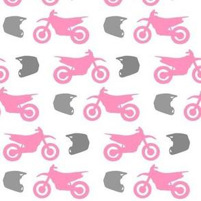 Pink Dirt Bike Grey Helmet