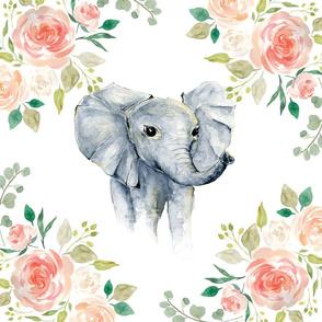 """Floral Elephant 6 loveys 18x18"""""""