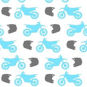 Blue Dirt Bikes Grey Helmets