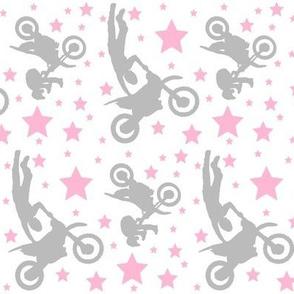 Dirt Bike Tricks Light Pink Grey