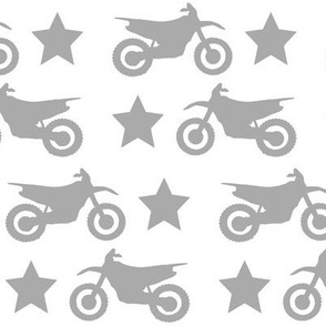 Dirt Bikes and Stars Grey